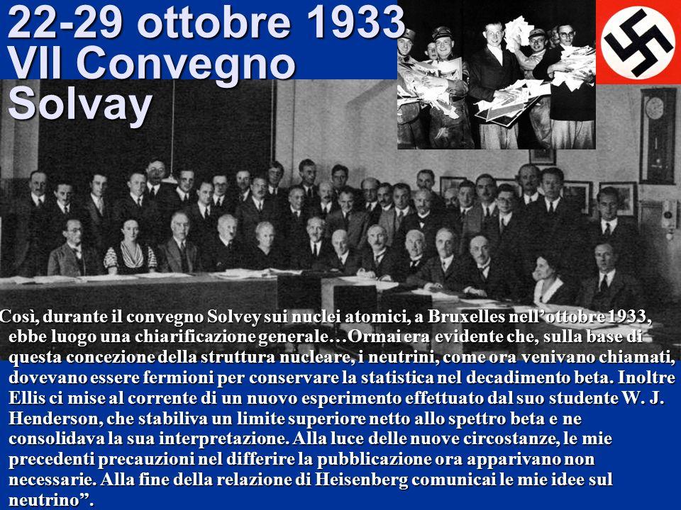 22-29 ottobre 1933 VII Convegno Solvay Così, durante il convegno Solvey sui nuclei atomici, a Bruxelles nellottobre 1933, ebbe luogo una chiarificazio