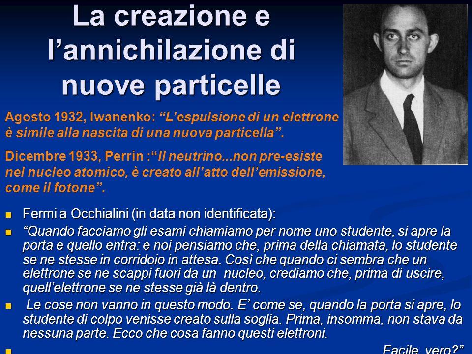 La creazione e lannichilazione di nuove particelle Fermi a Occhialini (in data non identificata): Fermi a Occhialini (in data non identificata): Quand