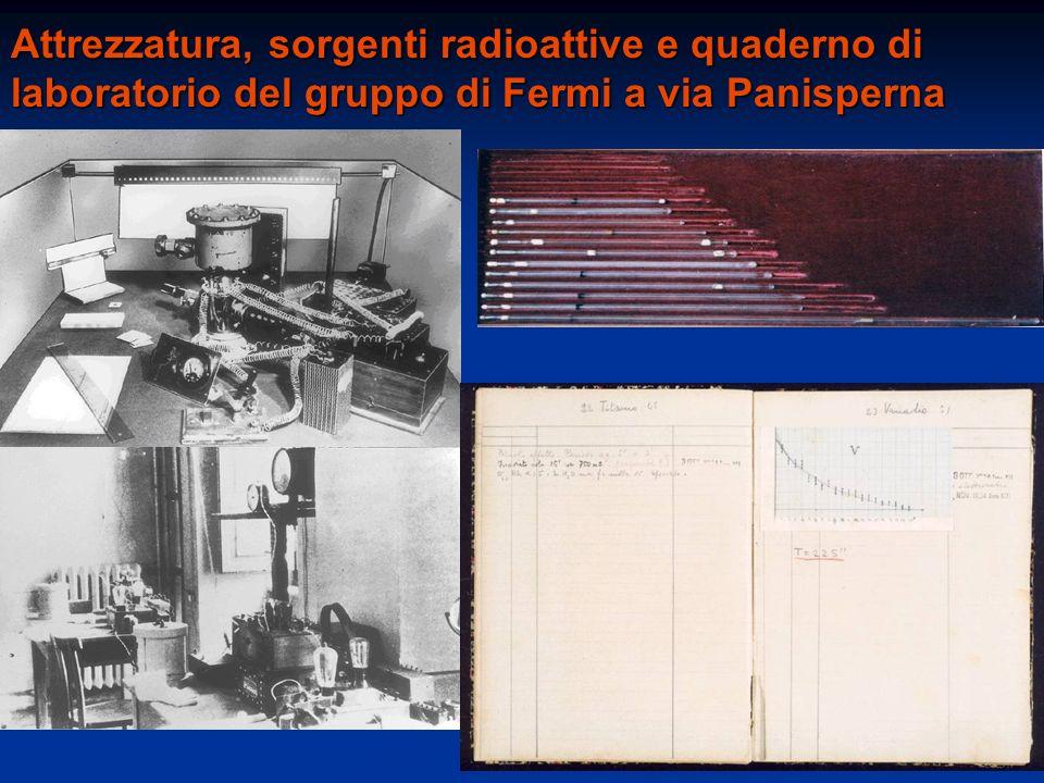 Attrezzatura, sorgenti radioattive e quaderno di laboratorio del gruppo di Fermi a via Panisperna