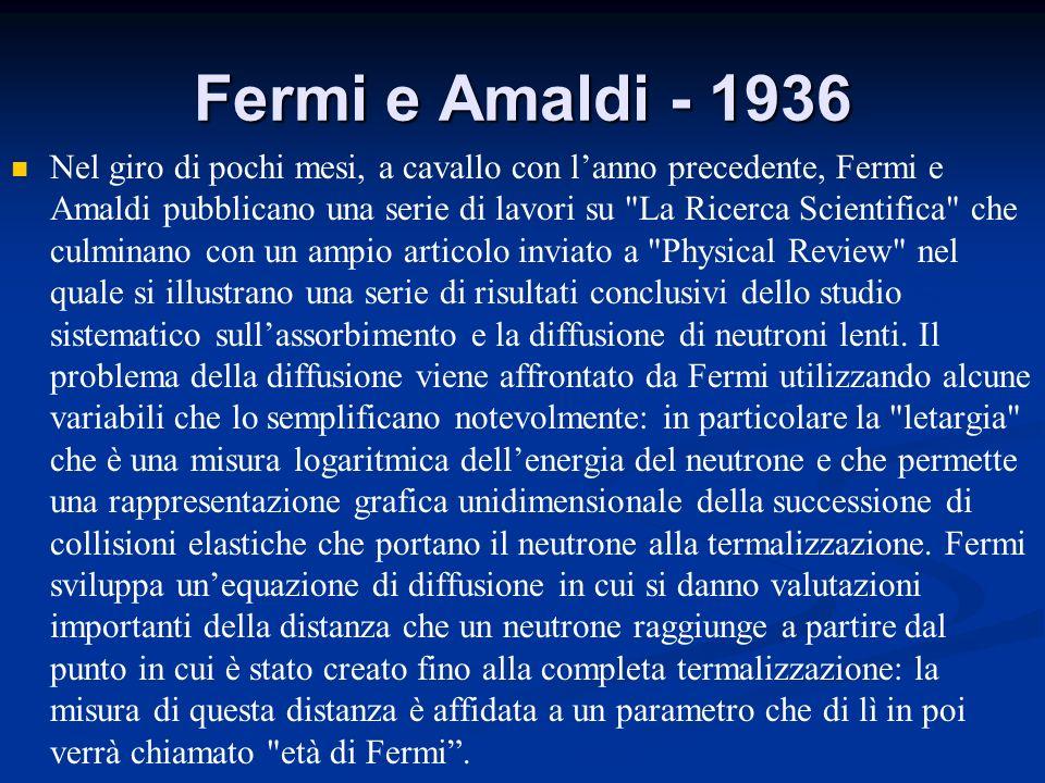 Fermi e Amaldi - 1936 Nel giro di pochi mesi, a cavallo con lanno precedente, Fermi e Amaldi pubblicano una serie di lavori su