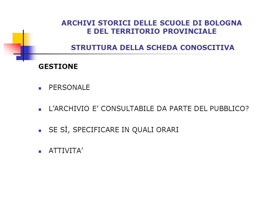 SCHEDE COMPILATE: ISTITUTI COMPRENSIVI DI BOLOGNA Istituto comprensivo n.