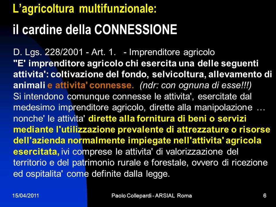15/04/2011Paolo Collepardi - ARSIAL Roma6 Lagricoltura multifunzionale: il cardine della CONNESSIONE D. Lgs. 228/2001 - Art. 1. - Imprenditore agricol