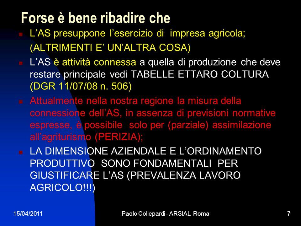 15/04/2011Paolo Collepardi - ARSIAL Roma7 Forse è bene ribadire che LAS presuppone lesercizio di impresa agricola; (ALTRIMENTI E UNALTRA COSA) LAS è a