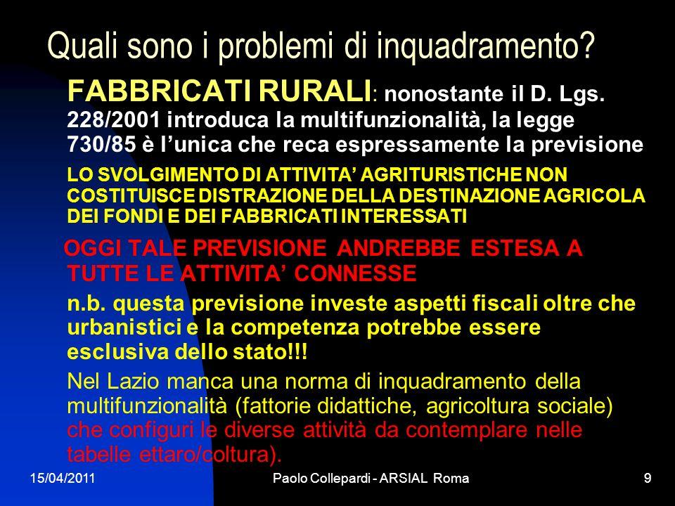 15/04/2011Paolo Collepardi - ARSIAL Roma9 Quali sono i problemi di inquadramento? FABBRICATI RURALI : nonostante il D. Lgs. 228/2001 introduca la mult