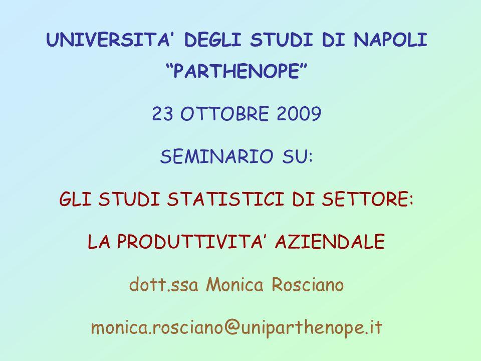 UNIVERSITA DEGLI STUDI DI NAPOLI PARTHENOPE 23 OTTOBRE 2009 SEMINARIO SU: GLI STUDI STATISTICI DI SETTORE: LA PRODUTTIVITA AZIENDALE dott.ssa Monica R