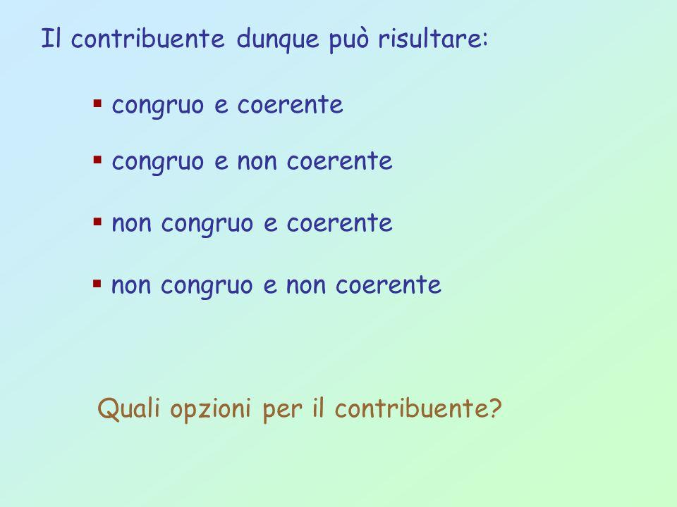 congruo e non coerente congruo e coerente non congruo e coerente non congruo e non coerente Quali opzioni per il contribuente? Il contribuente dunque