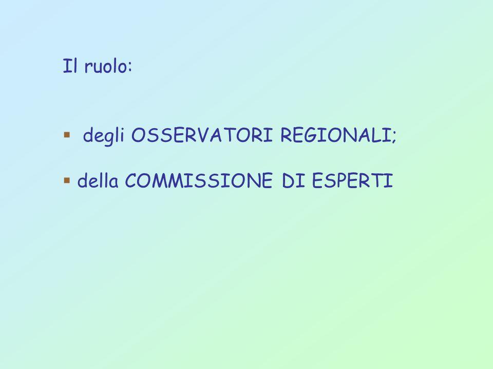 Il ruolo: degli OSSERVATORI REGIONALI; della COMMISSIONE DI ESPERTI