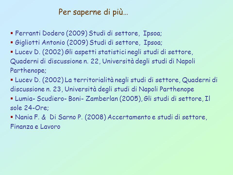 Per saperne di più… Ferranti Dodero (2009) Studi di settore, Ipsoa; Gigliotti Antonio (2009) Studi di settore, Ipsoa; Lucev D. (2002) Gli aspetti stat