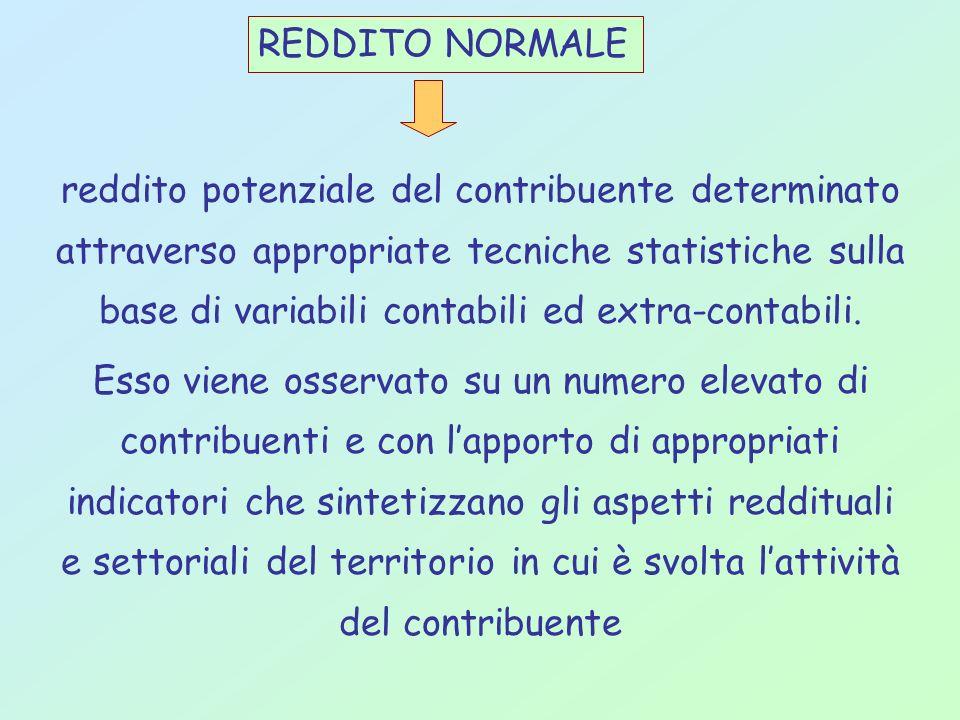 REDDITO NORMALE reddito potenziale del contribuente determinato attraverso appropriate tecniche statistiche sulla base di variabili contabili ed extra