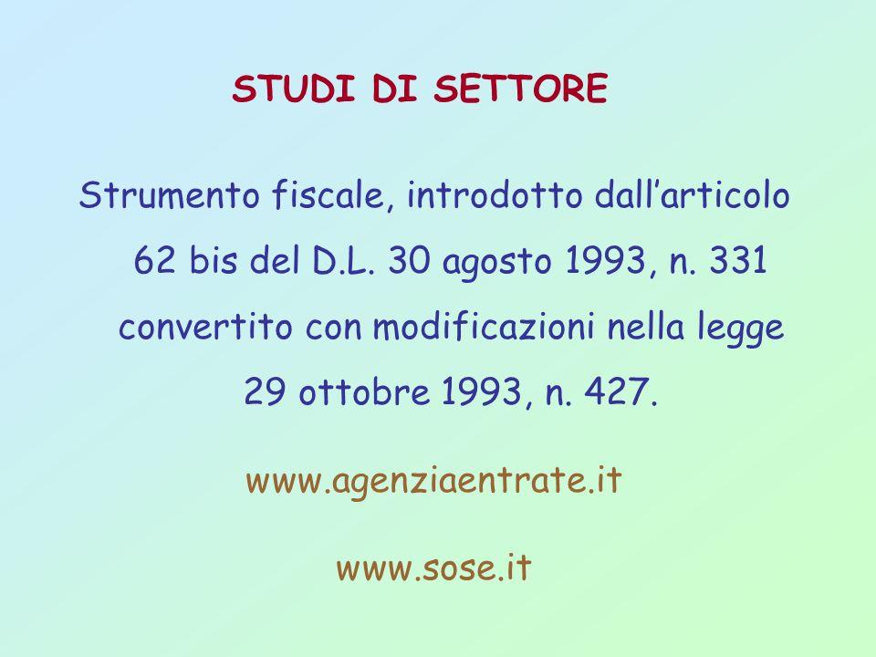 STUDI DI SETTORE Strumento fiscale, introdotto dallarticolo 62 bis del D.L. 30 agosto 1993, n. 331 convertito con modificazioni nella legge 29 ottobre