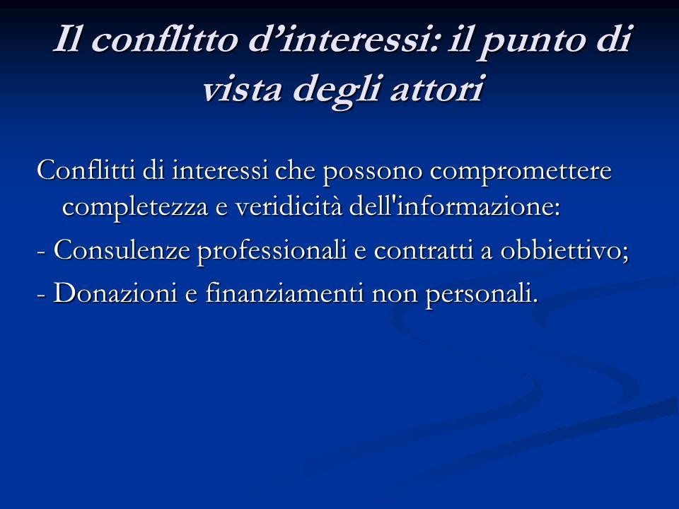 Il conflitto dinteressi: il punto di vista degli attori Conflitti di interessi che possono compromettere completezza e veridicità dell informazione: - Consulenze professionali e contratti a obbiettivo; - Donazioni e finanziamenti non personali.