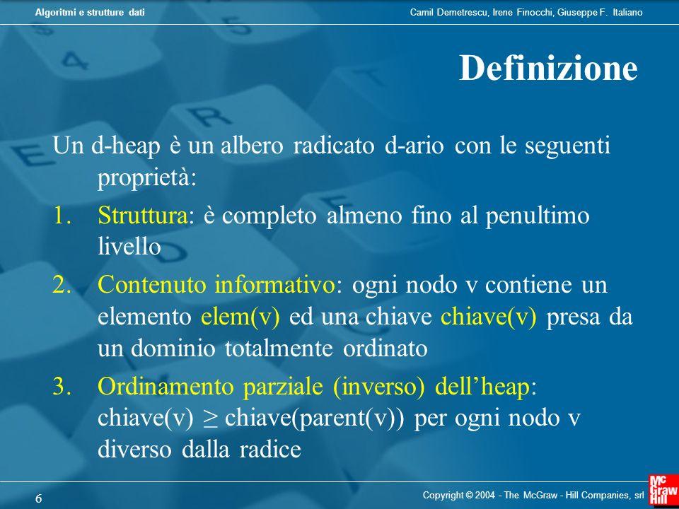 Camil Demetrescu, Irene Finocchi, Giuseppe F. ItalianoAlgoritmi e strutture dati Copyright © 2004 - The McGraw - Hill Companies, srl 6 Definizione Un