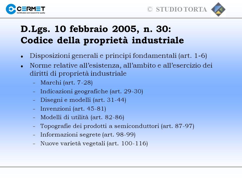 © STUDIO TORTA MANCANZA DI NOVITA NON sono registrabili i marchi identici o simili a marchi anteriori per prodotti/servizi identici o simili