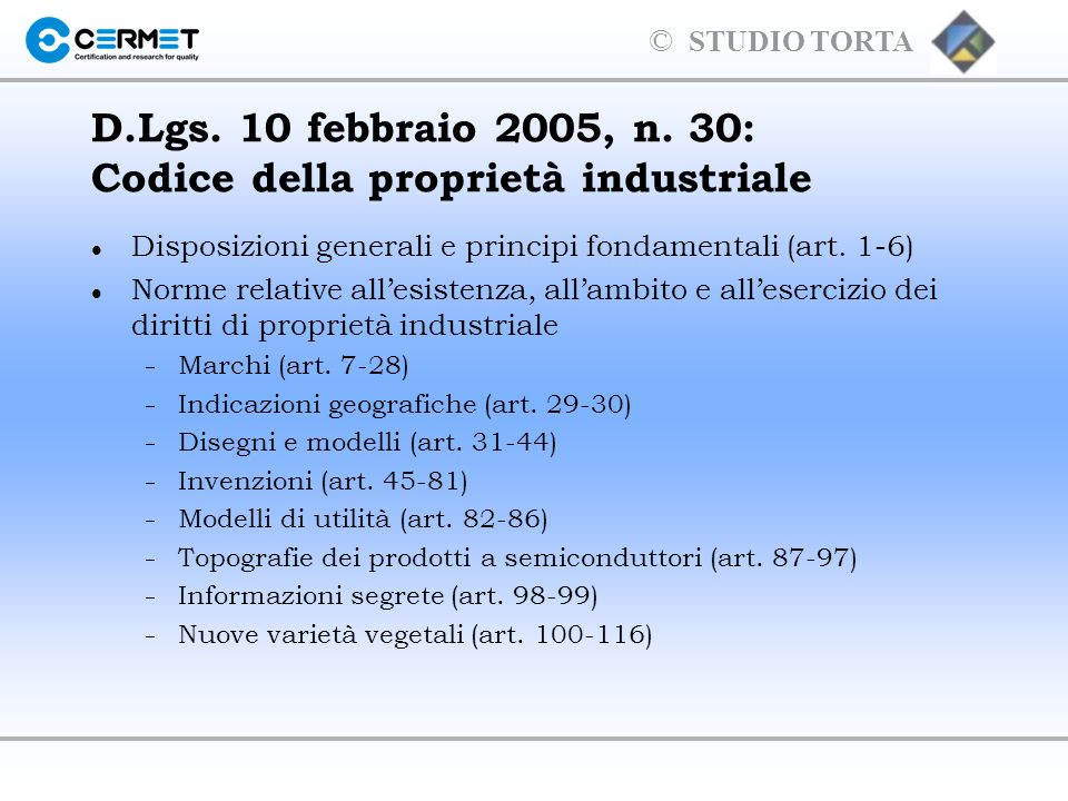 © STUDIO TORTA CINA Marchi ordinari Marchi di certificazione