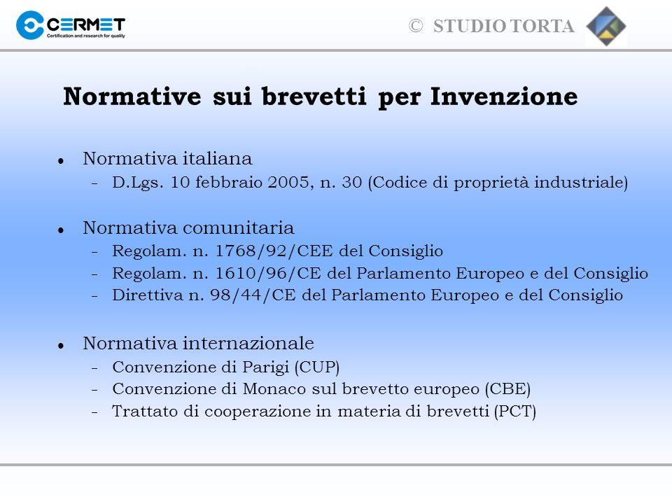 © STUDIO TORTA Le Invenzioni nel Codice di proprietà industriale l Oggetto e contenuto del brevetto (artt.