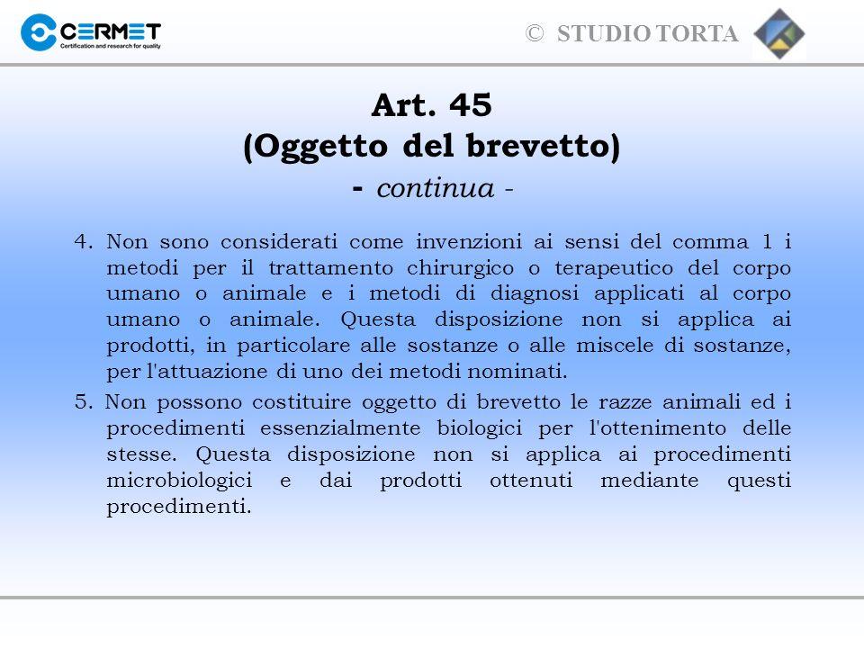 © STUDIO TORTA Decorrenza degli effetti del brevetto (artt.