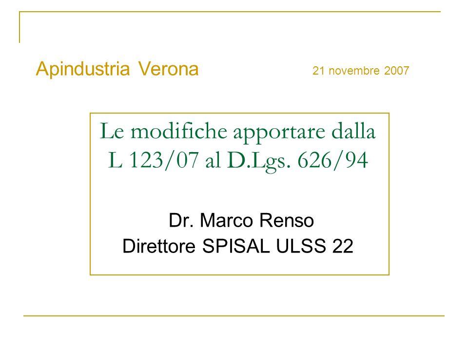 Le modifiche apportare dalla L 123/07 al D.Lgs. 626/94 Dr. Marco Renso Direttore SPISAL ULSS 22 Apindustria Verona 21 novembre 2007