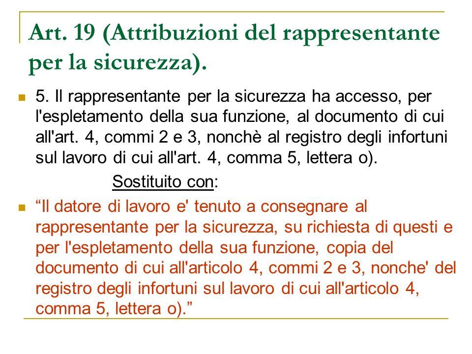 Art. 19 (Attribuzioni del rappresentante per la sicurezza).