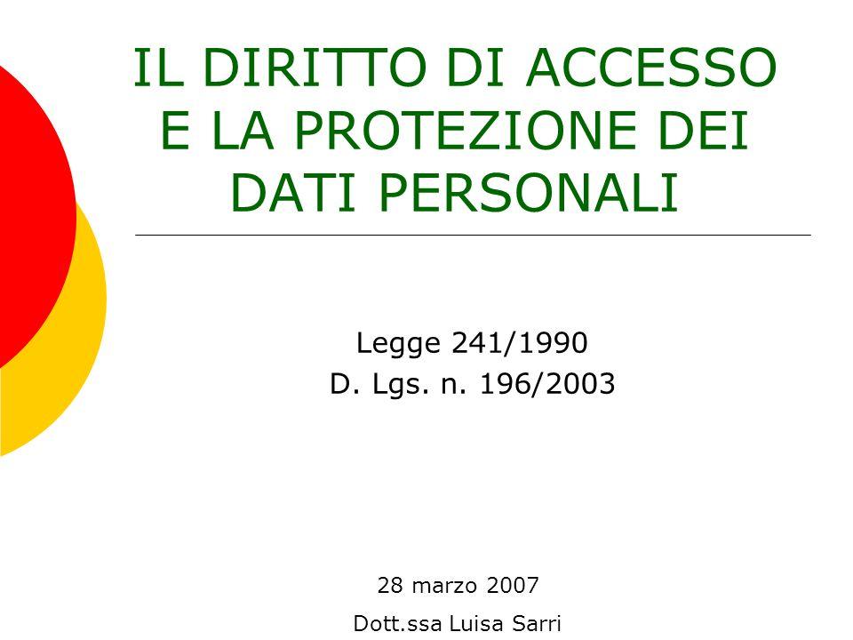 IL DIRITTO DI ACCESSO E LA PROTEZIONE DEI DATI PERSONALI 28 marzo 2007 Dott.ssa Luisa Sarri Legge 241/1990 D. Lgs. n. 196/2003