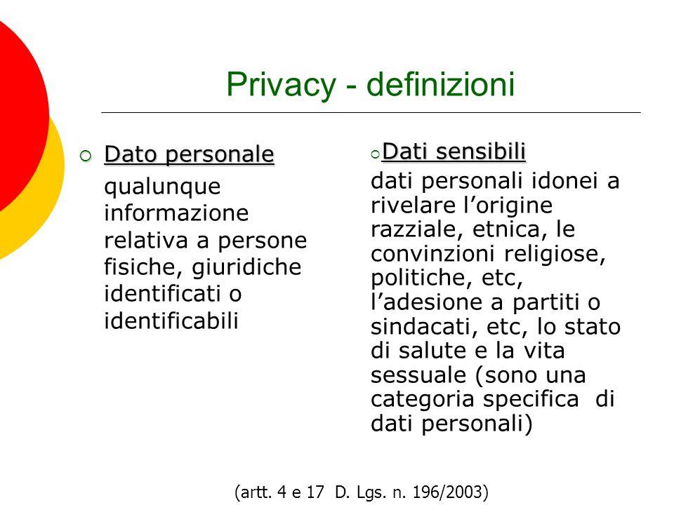 Privacy - definizioni Dato personale Dato personale qualunque informazione relativa a persone fisiche, giuridiche identificati o identificabili (artt.