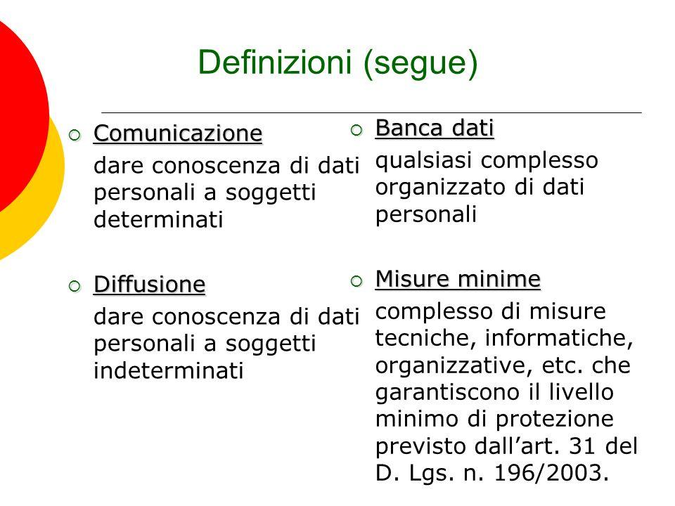 Definizioni (segue) Comunicazione Comunicazione dare conoscenza di dati personali a soggetti determinati Diffusione Diffusione dare conoscenza di dati