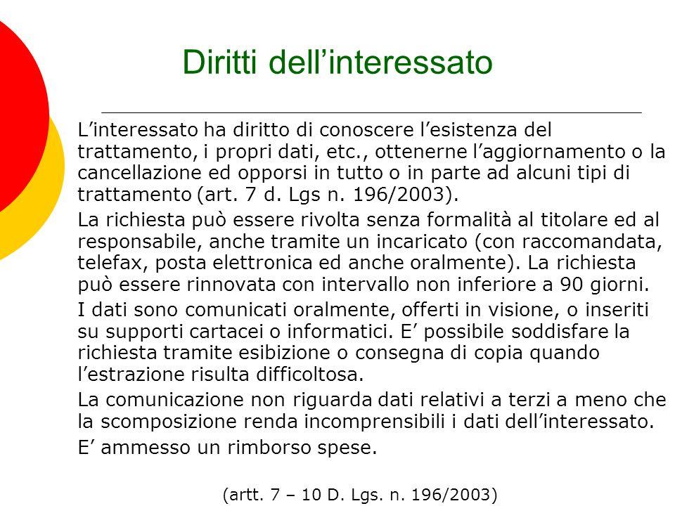 Diritti dellinteressato Linteressato ha diritto di conoscere lesistenza del trattamento, i propri dati, etc., ottenerne laggiornamento o la cancellazi
