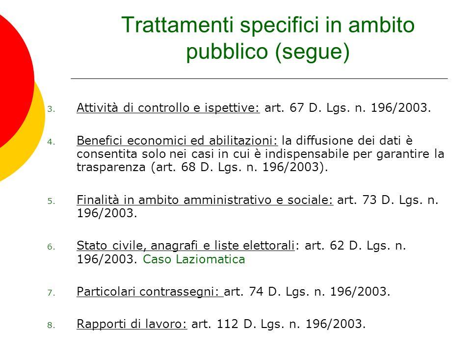 Trattamenti specifici in ambito pubblico (segue) 3. Attività di controllo e ispettive: art. 67 D. Lgs. n. 196/2003. 4. Benefici economici ed abilitazi