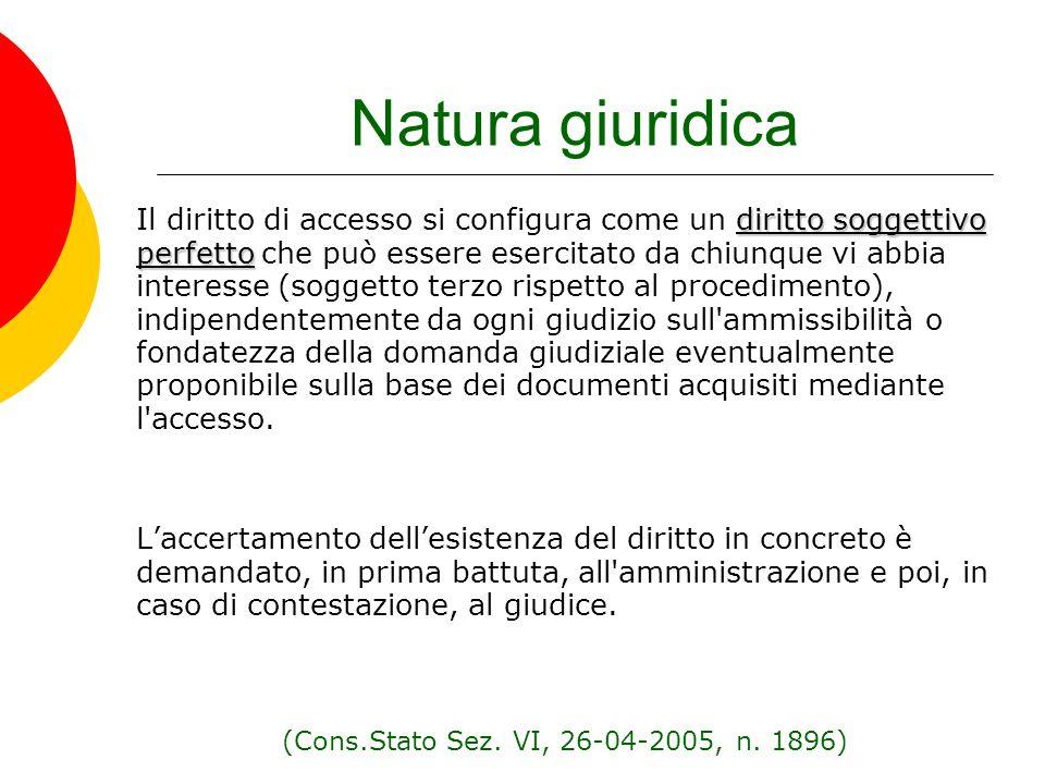 Natura giuridica diritto soggettivo perfetto Il diritto di accesso si configura come un diritto soggettivo perfetto che può essere esercitato da chiun