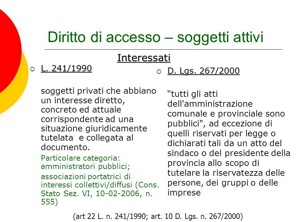 Diritto di accesso – soggetti attivi L. 241/1990 L. 241/1990 soggetti privati che abbiano un interesse diretto, concreto ed attuale corrispondente ad