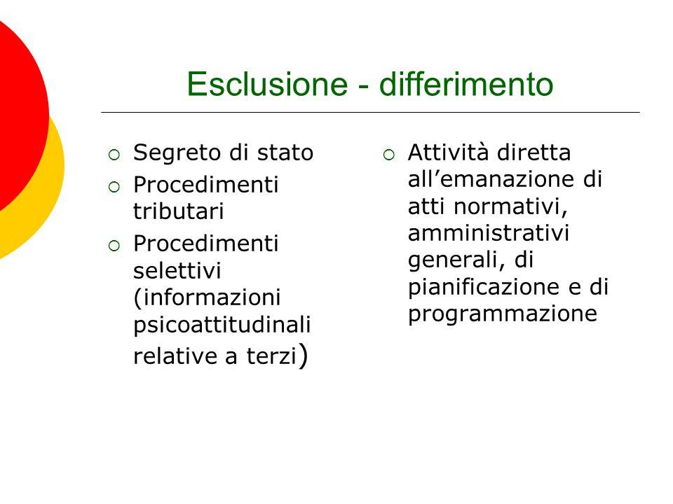 Esclusione - differimento Segreto di stato Procedimenti tributari Procedimenti selettivi (informazioni psicoattitudinali relative a terzi ) Attività d
