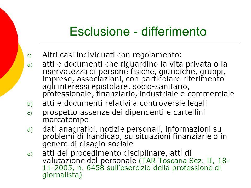 Esclusione - differimento Altri casi individuati con regolamento: a) atti e documenti che riguardino la vita privata o la riservatezza di persone fisi