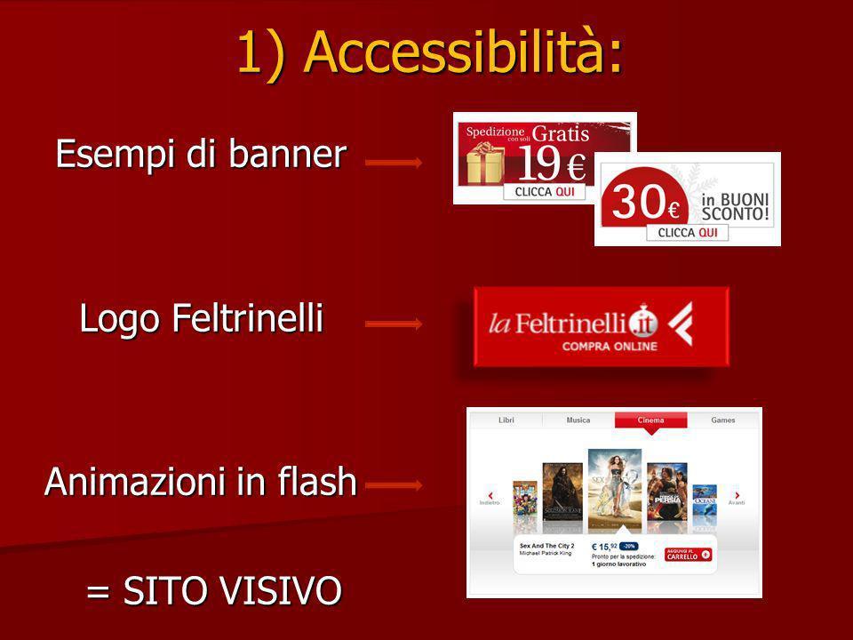 1) Accessibilità: Esempi di banner Logo Feltrinelli Animazioni in flash = SITO VISIVO = SITO VISIVO