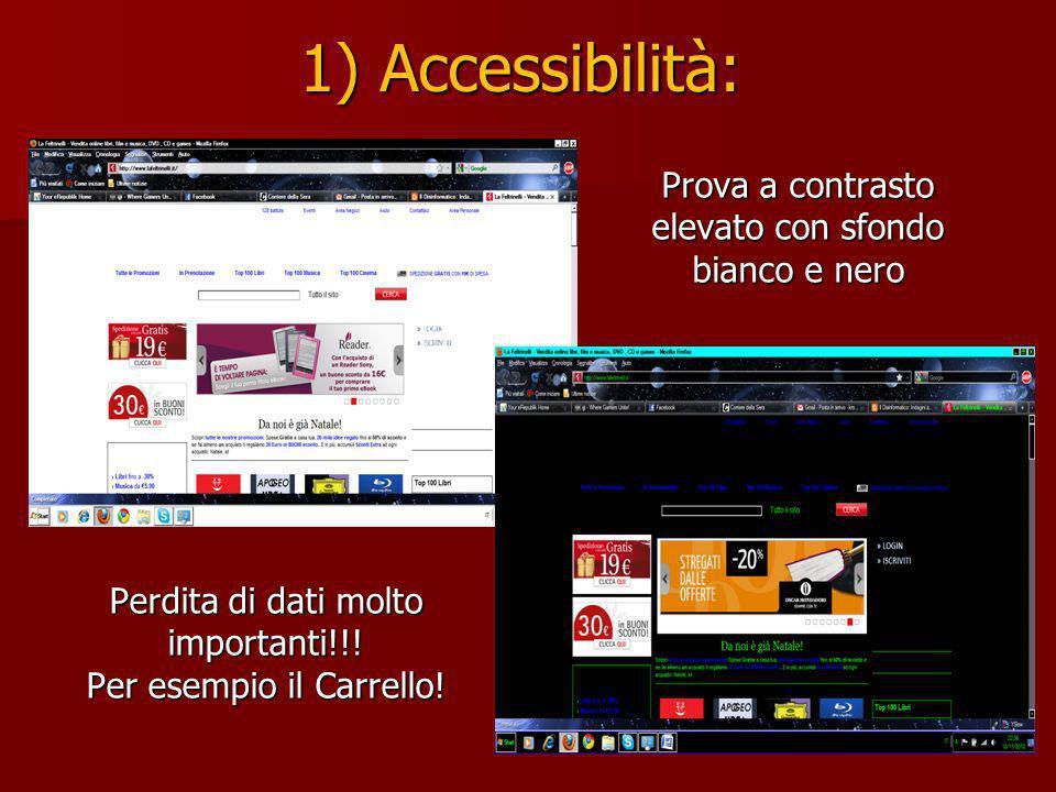 1) Accessibilità: Prova a contrasto elevato con sfondo bianco e nero Perdita di dati molto importanti!!.