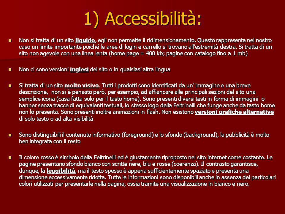 1) Accessibilità: Non si tratta di un sito liquido, egli non permette il ridimensionamento.