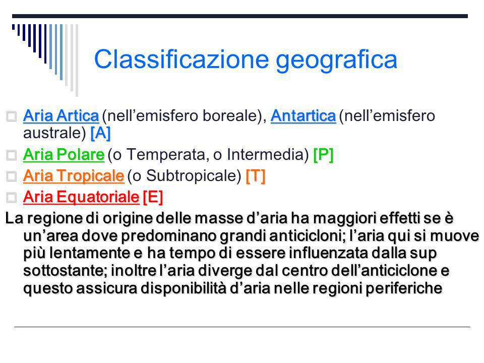 Classificazione geografica Aria ArticaAntartica [A] Aria Artica (nellemisfero boreale), Antartica (nellemisfero australe) [A] Aria Polare[P] Aria Pola