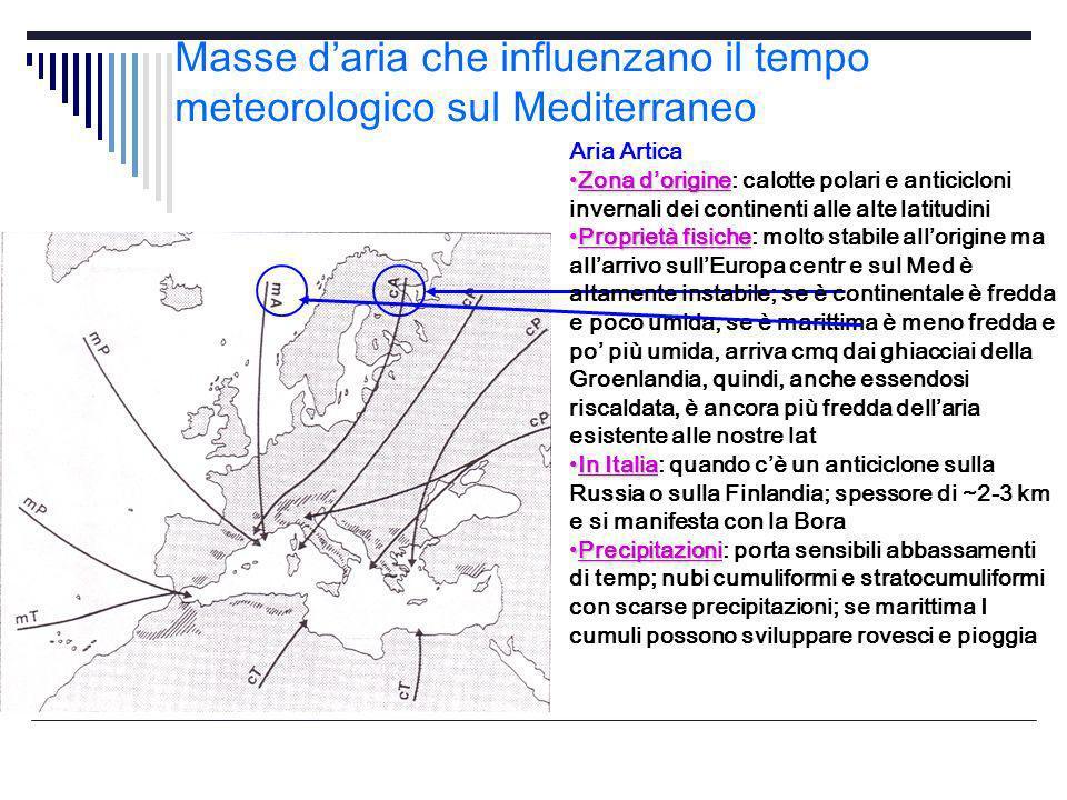 Masse daria che influenzano il tempo meteorologico sul Mediterraneo Aria Artica Zona dorigineZona dorigine: calotte polari e anticicloni invernali dei