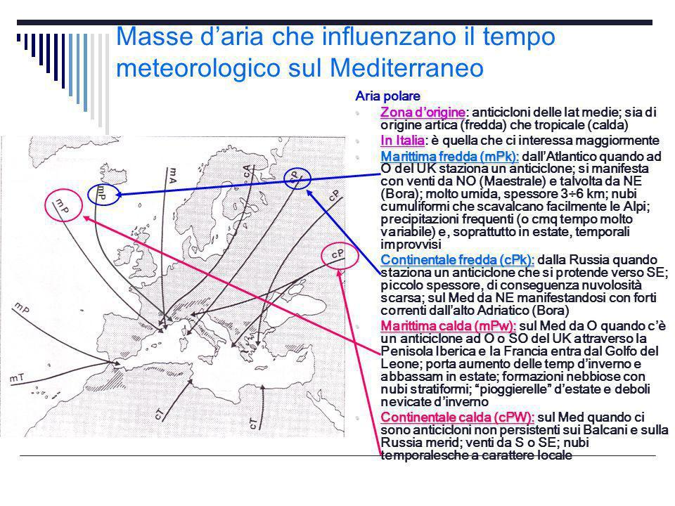 Masse daria che influenzano il tempo meteorologico sul Mediterraneo Aria polare Zona dorigine Zona dorigine: anticicloni delle lat medie; sia di origi