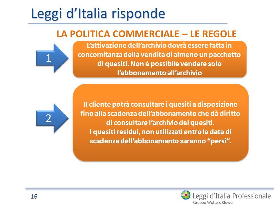 Leggi dItalia risponde 16 LA POLITICA COMMERCIALE – LE REGOLE Lattivazione dellarchivio dovrà essere fatta in concomitanza della vendita di almeno un pacchetto di quesiti.