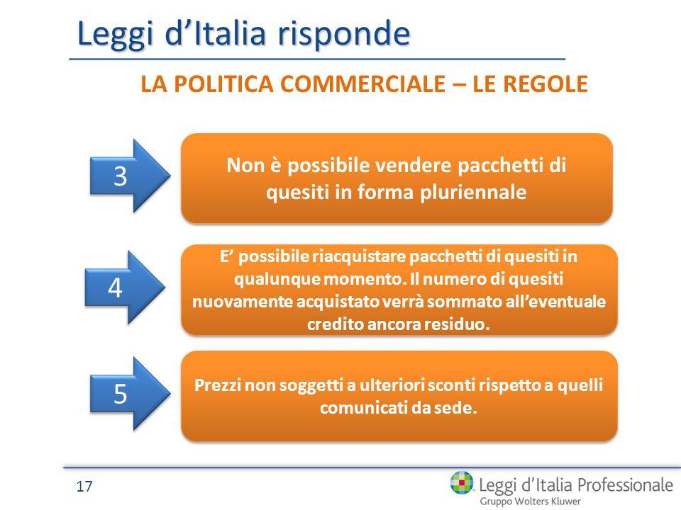 Leggi dItalia risponde 17 LA POLITICA COMMERCIALE – LE REGOLE Non è possibile vendere pacchetti di quesiti in forma pluriennale 3 3 E possibile riacquistare pacchetti di quesiti in qualunque momento.