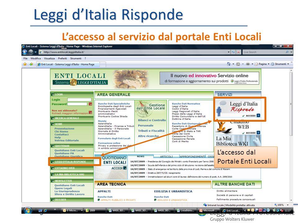 Leggi dItalia Risponde 5 Laccesso al servizio dal portale Enti Locali Laccesso dal Portale Enti Locali Laccesso dal Portale Enti Locali