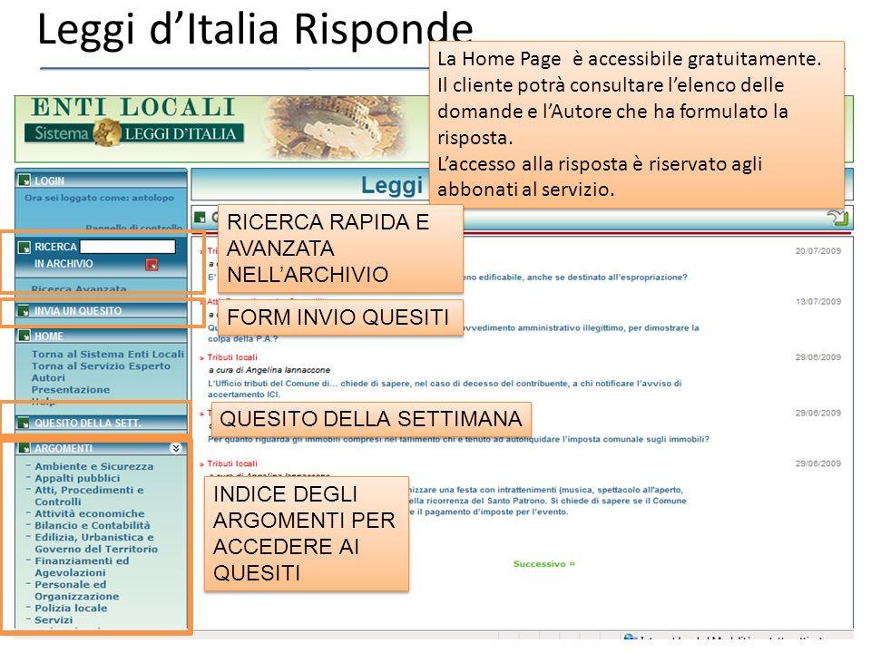 Leggi dItalia Risponde La Home Page è accessibile gratuitamente.