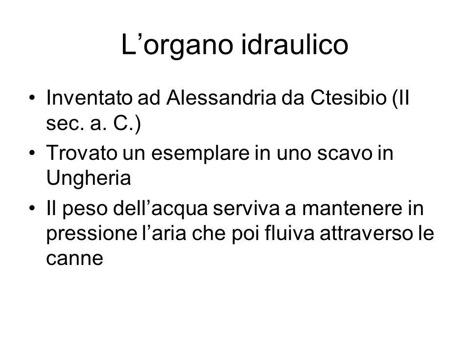 Lorgano idraulico Inventato ad Alessandria da Ctesibio (II sec.