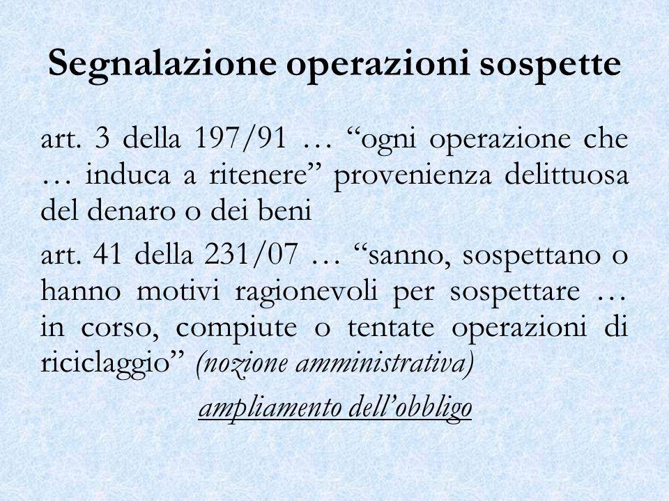 Segnalazione operazioni sospette art. 3 della 197/91 … ogni operazione che … induca a ritenere provenienza delittuosa del denaro o dei beni art. 41 de