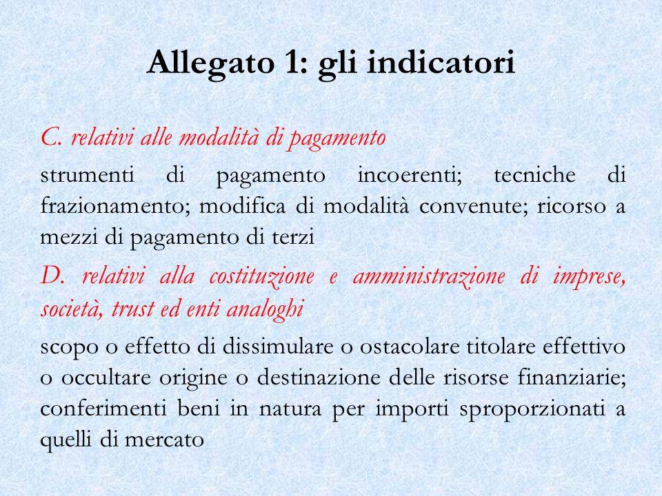 Allegato 1: gli indicatori C.
