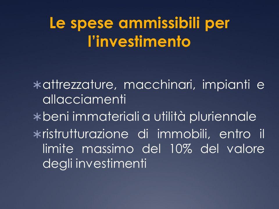 Le spese ammissibili per linvestimento attrezzature, macchinari, impianti e allacciamenti beni immateriali a utilità pluriennale ristrutturazione di immobili, entro il limite massimo del 10% del valore degli investimenti