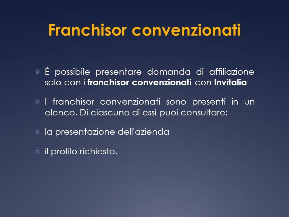 Franchisor convenzionati È possibile presentare domanda di affiliazione solo con i franchisor convenzionati con Invitalia I franchisor convenzionati sono presenti in un elenco.
