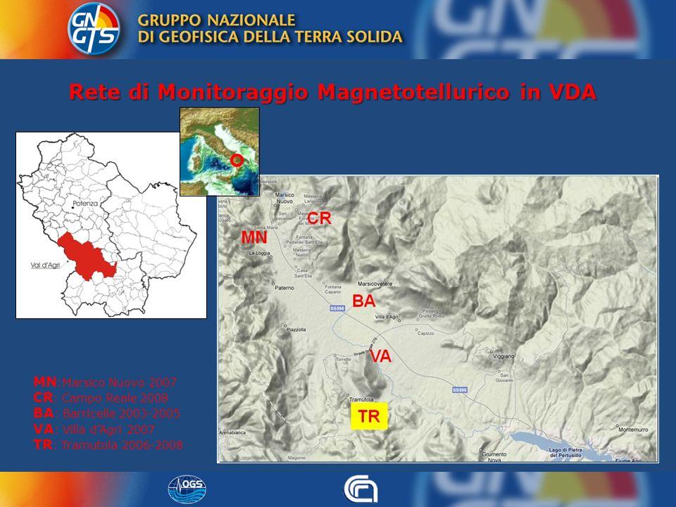 Rete di Monitoraggio Magnetotellurico in VDA MN :Marsico Nuovo 2007 CR : Campo Reale 2008 BA : Barricelle 2003-2005 VA : Villa dAgri 2007 TR : Tramuto