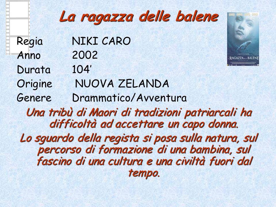 La ragazza delle balene Regia NIKI CARO Anno 2002 Durata104 Origine NUOVA ZELANDA GenereDrammatico/Avventura Una tribù di Maori di tradizioni patriarcali ha difficoltà ad accettare un capo donna.