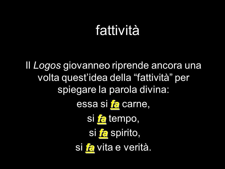 fattività Il Logos giovanneo riprende ancora una volta questidea della fattività per spiegare la parola divina: fa essa si fa carne, fa si fa tempo, f