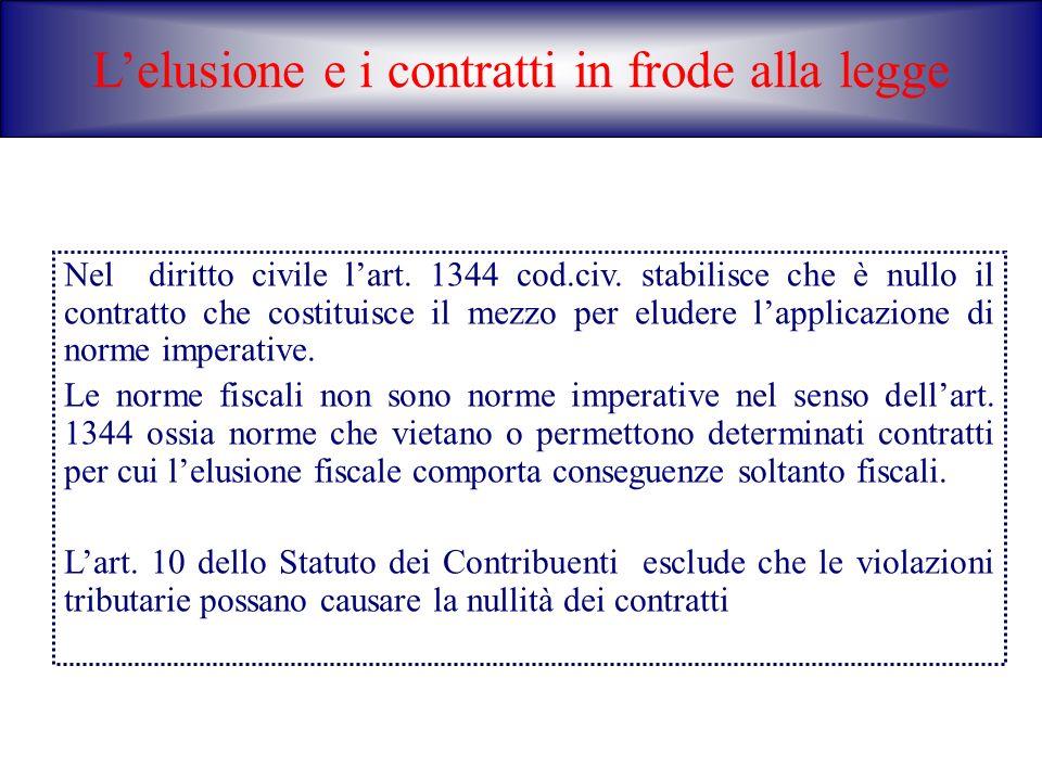 Lelusione e i contratti in frode alla legge Nel diritto civile lart. 1344 cod.civ. stabilisce che è nullo il contratto che costituisce il mezzo per el